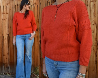 Vintage 80s Rust Orange KNIT FALL WINTER Sweater S