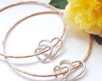 Mommy and me bracelet - Mother daughter bracelet, hearts couple bracelet, mixed metal Rose gold sterling silver bangle, pink gold bracelet