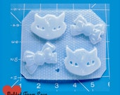 SALE Retro Cool Kitty and Bows Handmade Plastic Mold