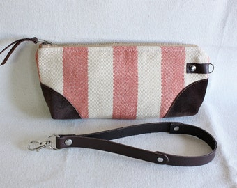 Stripe wristlet ,pouch ,clutch, wallet, IPhone pouch, bridesmaid gift Coral with leather trim - READY--
