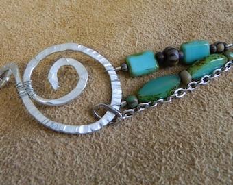 Tidal Pool, Bracelet metal free form shape and blue tone beads