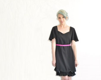 little black frilly dress . accordion pleats . flirty sleeves . ribbon sash .large .sale