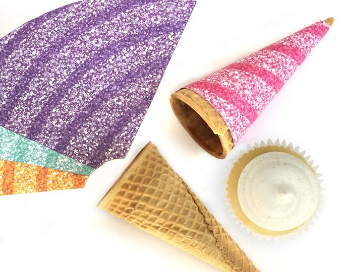 Unicorn Ice Cream Wraps for Sugar Cones - Unicorn Birthday, Rainbow Party, Magical Party, Ice Cream Party   Instant Download PDF Printables