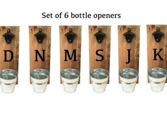 bottle openers, groomsmen gift, set of 6, rustic bottle opener, Father's day gift, reclaimed wood, wedding party gift, personalized gift