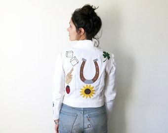Lady Luck Jacket / Good Luck Symbols Applique Jacket / White Denim Sz S