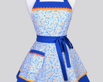 Ruffled Retro Womans Apron / Cute Floral in Sky Blue Yellow and Orange Vintage Style Pin Up Kitchen Apron Ideal to Personalize or Monogram