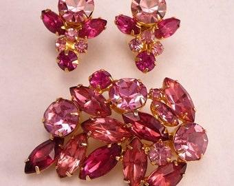 Vintage Pink Rhinestone Brooch & Earrings Four Shades of Pink Stones