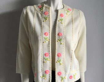 Vintage Women's 60's Floral Cardigan Sweater, White, Embroidered by Roger Fashions (M/L)