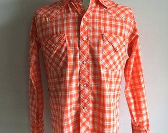 Vintage Men's 60's Tem-Tex, Western Shirt, Checkered, Long Sleeve (M)