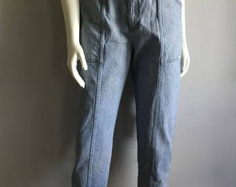 Vintage Women's 80's High Waisted Jeans, Blue, White, Denim by Cherokee (M)