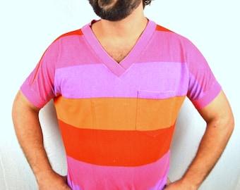 Vintage 80s Gitano Neon Pink Orange Purple Striped Geometric Tee Shirt