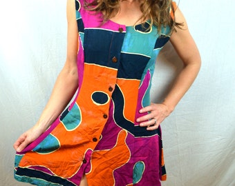 Vintage 90s Ethnic Boho Batik Summer Mini Geometric Tribal Dress