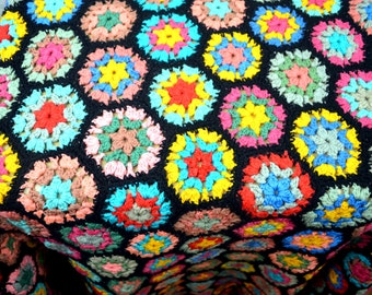 Vintage Granny Square Rainbow Afghan Throw Blanket