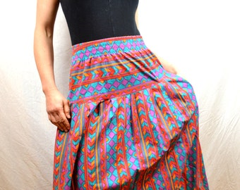 Vintage 80s Southwest Rainbow Geometric Maxi Skirt - Cameo Rose