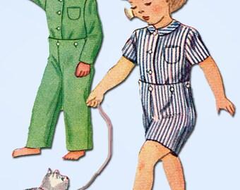 1940s Vintage Simplicity Sewing Pattern 2040 Baby Girls & Boys Pajamas Size 1
