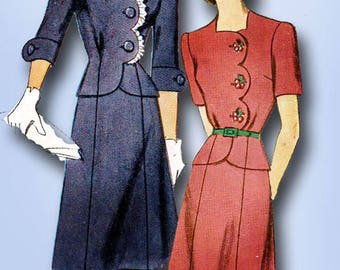 1940s Vintage Simplicity Sewing Pattern 4701 Misses WWII 2 PC Dress or Suit 36B