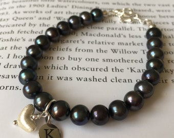 Personalised freshwater pear initial bracelet