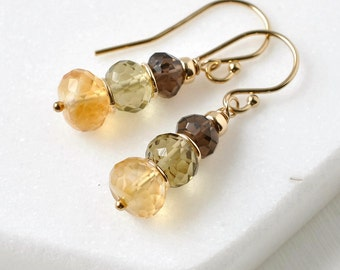 Multi Gemstone Earrings / Stacked Beaded Dangle Earrings / Smokey Quartz Citrine Earrings Gold Fill French Wires