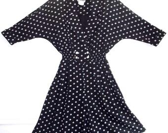 vintage 80s black and white polka dot culotte
