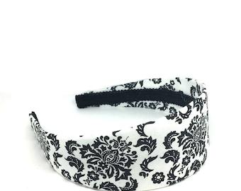 Damask Headband - Preppy - White and Black Floral Damask Headband - Choose width from Skinny to Wide - Girls Headbands, Adult Headbands