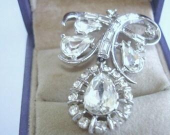 Crown Trifari  Clear Rhinestone Cluster  Brooch Silver Tone