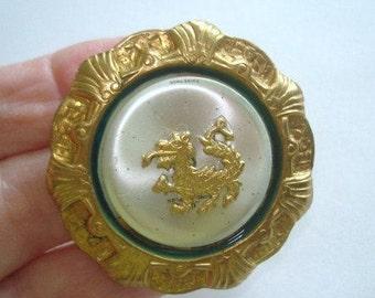 Dragon Brooch Gold Silver Tone