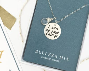 I Can Do Hard Things - Runner Gift - Sterling Silver Motivational Necklace - Fitness Gift for Her - Marathon Necklace - Running Necklace