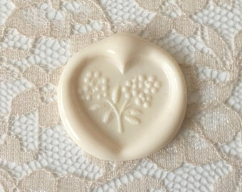 Heart Flower Wax Seal  Vintage, Shabby Chic,Flexible Wedding Wax Seals Peel and Stick in ivory
