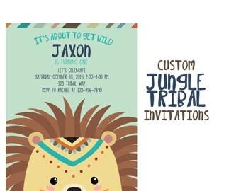 Jungle Party Invitation, Custom Tribal Animal Birthday Party, Arrow 5x7 Birthday Invitations, 1st Birthday Invite