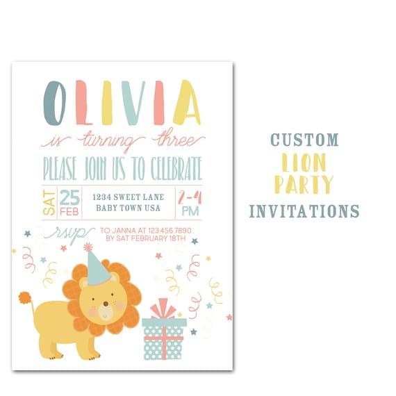 lion birthday party invitation custom jungle animal birthday party