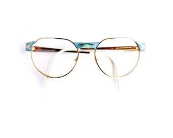 90s Off Round Eyeglasses Frames Vintage 1990's Two Tone Blue & Gold Frames Made in France #M666 DIVINE