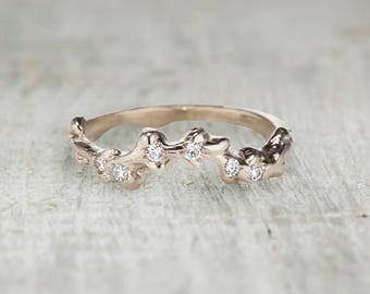 Diamond Curved Wedding Band White Gold, Rose Gold, Yellow Gold or Platinum - Nature Inspired Contour Wedding Band