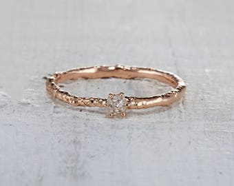 Rough Cut Diamond Promise Ring – Uncut Diamond Twig Engagement Ring in Yellow Gold, White Gold, Rose Gold or Platinum