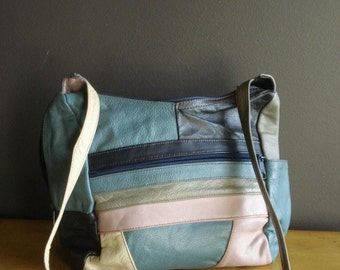 Vintage Leather Purse - Lavender, Gray, Teal, and Navy Handbag - Genuine Leather Made in Mexico