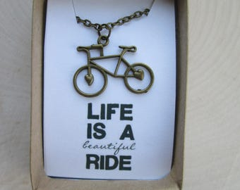 Beautiful Ride  - Words to Live By Charm Necklace in Solid Brass