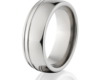 New 8mm USA Made Jewelry, Custom Titanium Ring- 8P21SGOCBRT