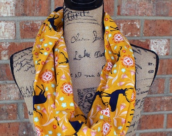 Yellow and Blue Deer Floral Women's Infinity Scarf Gift Under 15 Dollars Ready to Ship