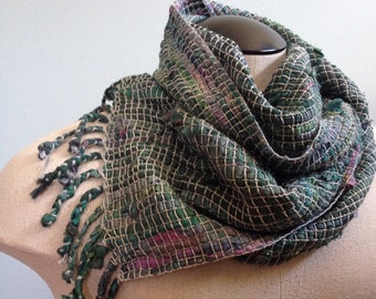Handwoven Recycled Sari Silk & Cotton Scarf / Green / Silver / Boho / Artsy / Winter / Fall / Spring / Lightweight / Sustainable / Warm
