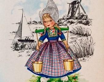 Vintage Dutch Girl Folklore Postcard Frankie