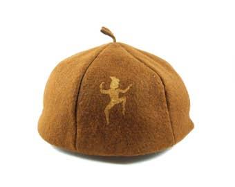 Girl Scouts Vintage Brownie Felt Hat Uniform Tam Beret Brown