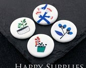 2pcs 25mm Round Handmade Photo Ceramic / Porcelain Pendants / Charms (CPA37-40) - High Quality No Scratch Guarantee