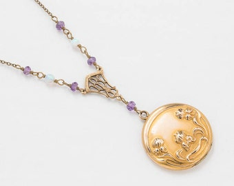 Antique Locket, Locket Necklace, Victorian Repousse Flower Locket in Gold Filled with Genuine Amethyst & Opal Pendant Vintage Jewelry Gift