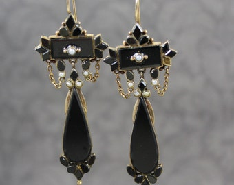 Vintage Victorian Style 14K Gold Black Onyx and Seed Pearl Long Pierced Mourning Earrings