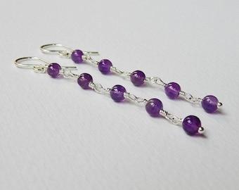 Long Amethyst Earrings - Beaded Earrings Sterling Silver Earrings Beadwork Earrings Long Dangle Earrings Rosary Earrings