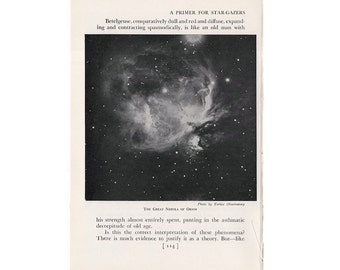 1946 NEBULA in ORION lithograph - original vintage print - celestial astronomy - from Yerke's Observatory