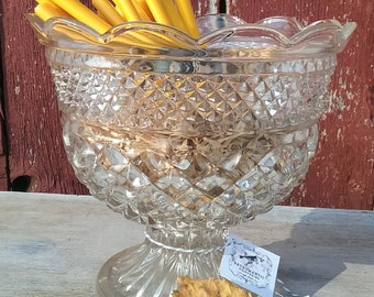 Vintage Large Pressed Glass Compote