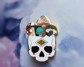 HALF PRICE - Factory Seconds Mushroom Skull - BIG Hard Enamel Pin - gold plating