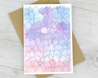New Home Card - House Card - Housewarming Card - Watercolour Card - Notecards - Pink Purple Card - Set of Note cards - Thank You Cards