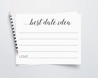 Date Night Cards, Printable Date Night Idea Cards, Wedding Guests Date Ideas, Wedding Shower Game, Date Jar Cards, Bridal Shower, Alejandra