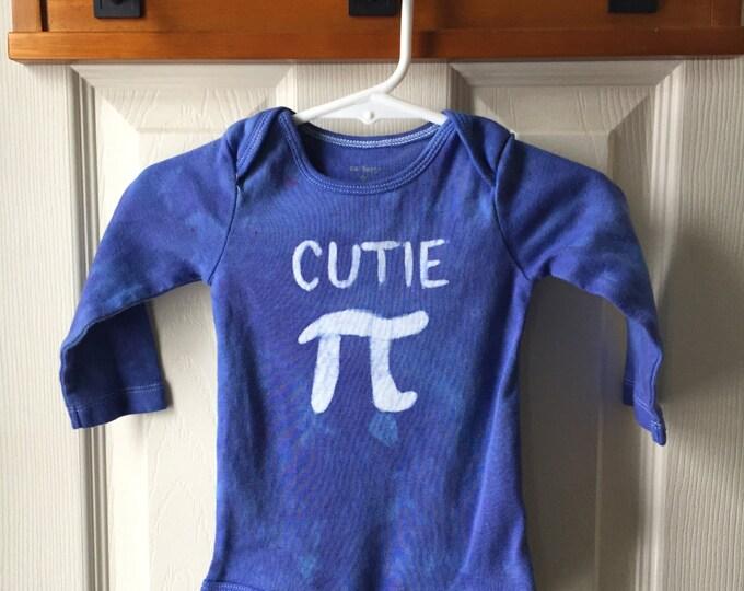 Blue Pi Day Baby Bodysuit, Pi Day Baby Shirt, Batik Cutie Pi Bodysuit, Boy Pi Day, Girl Pi Day, Long Sleeves (9 months)